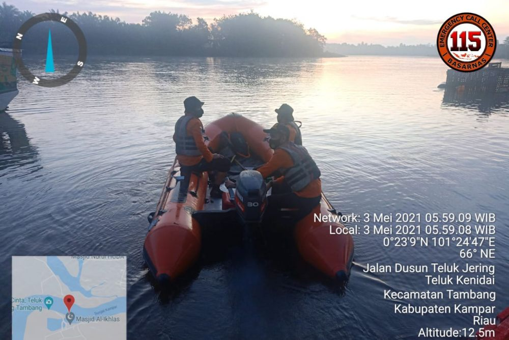 Tim SAR Melakukan Pencarian Dua Bocah Tenggelam di Sungai Kampar