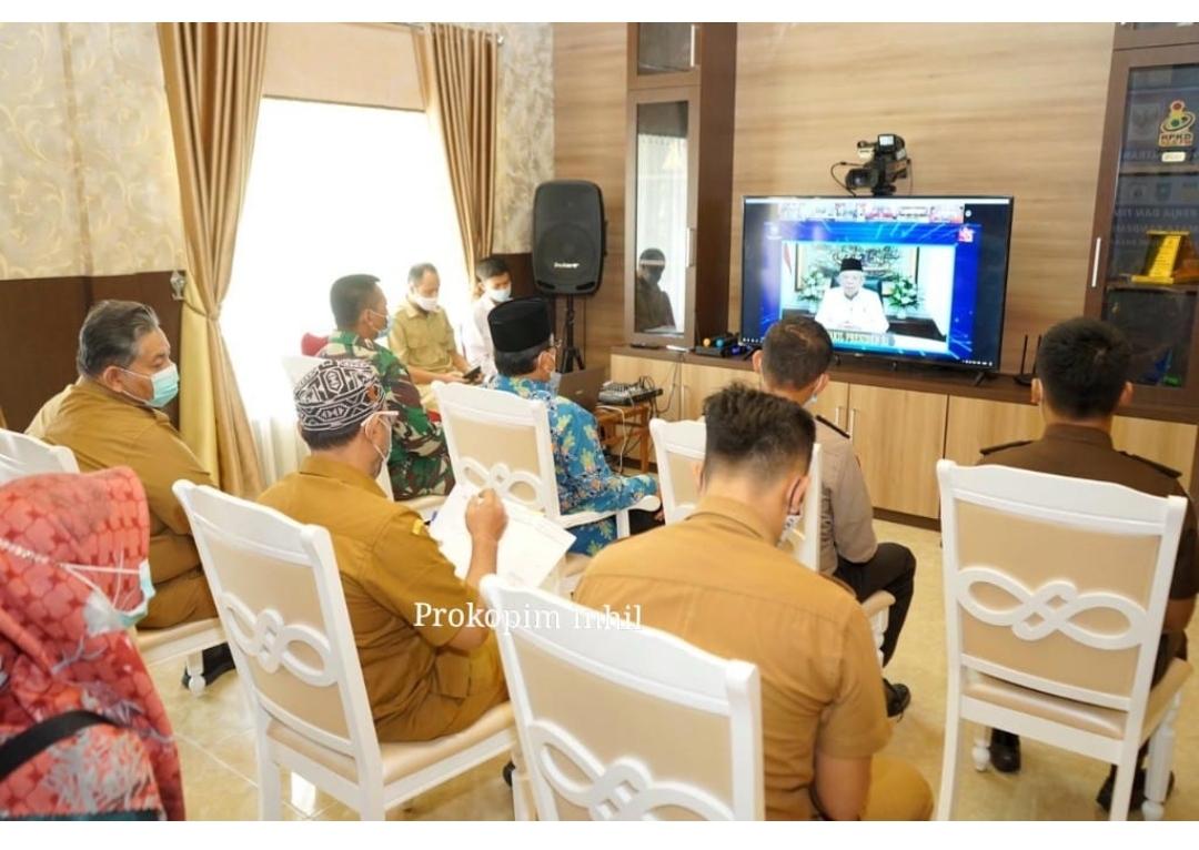 Bupati Inhil H.M. Wardan Ikuti peringatan Hari Otonomi Daerah (Otda) Ke XXV secara Virtual