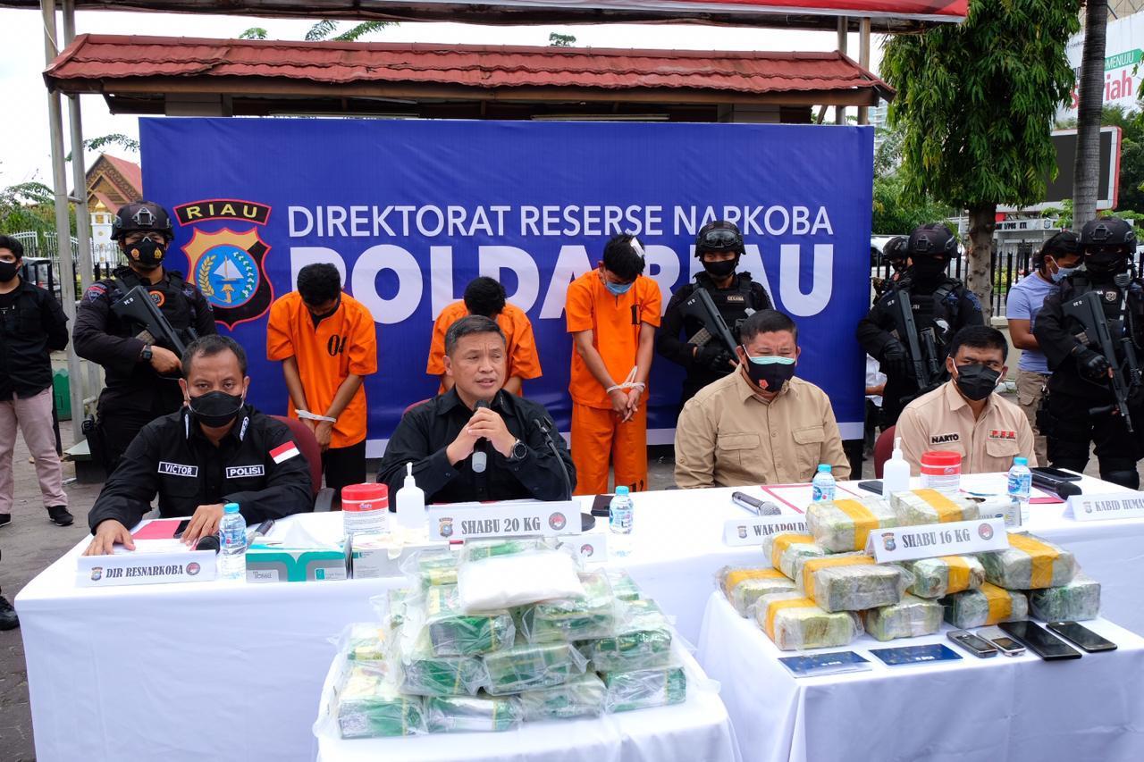 Polda Riau Kembali Berhasil Ungkap 36 Kg Sabu Dan Amankan 5 Tersangka.