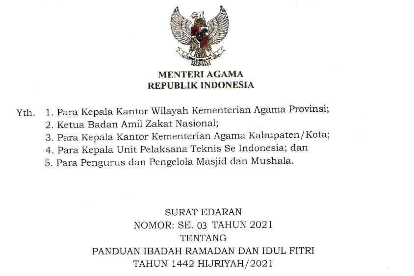 Sholat Idul Fitri di Masa Pandemi Bupati/Wali Kota Diminta Ikuti Panduan Kemenag