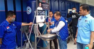 Demokrat Pekanbaru Pasang Puluhan Wastafel Portable di Beberapa-Tempat