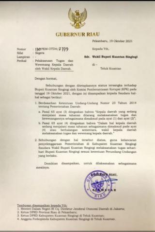 Keluarkan Surat Perintah,Gubri tunjuk Suhardiman Ambi PLT Bupati Kuansing