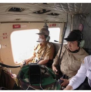 Memasuki Musim Kemarau, Bupati HM.Wardan Pimpin Pemantauan Karhutla Melalui Udara.