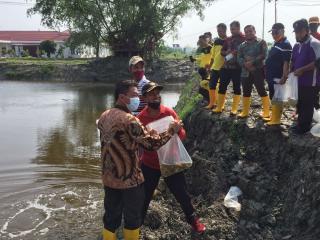 Giatkan Kamis Bersih, Bupati Rohil Tanam Pohon dan Tabur Benih Ikan di Lingkungan Kantor Bupati