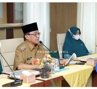 Bupati Inhil Drs HM Wardan MP Hadiri  Peanugrahan Penghargaan Pengarusutamaan Gender Secara Virtual